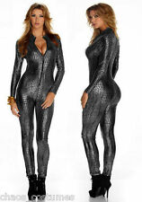 SILVER REPTILE SKIN SPACE ALIEN FLIGHT PILOT JUMP SUIT HALLOWEEN COSTUME 6 8 10