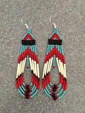 """Native American Style 3.5"""" Turquoise Reds Round Fringe Porcupine Quill Earrings"""