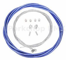 Bicycle 5mm LINED brake cable housing and hardware kit BMX MTB COBALT BLUE BRAID