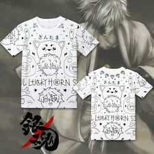 Anime Gintama Sadaharu T-Shirt Cotton Cosplay Tee Shirts Tops Valentine Gift