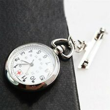 Large Face Nurses Pocket Fob Watch on a Bar with a Brooch Back Silver Color UL
