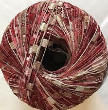 Cherry Pie Mini Ladder Yarn #46512 Ice Burgundy Pink Tan White Ribbon 50gr 136yd