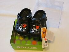 Crocs I Love NY New York littles baby shoes clog mule black C2/3 heart roomy fit