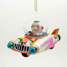 """SANTA CLAUS IN SPACE CAR GLASS ORNAMENT 4.25"""" NEW Sci Fi Ship Christmas Tree UFO"""