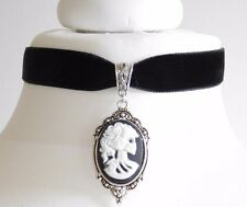 Black Velvet Skull Bride Lady Cameo  Choker Necklace Gothic Wicca Halloween