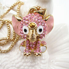 Gold Plated Pink Crystal Cute 3D Baby Elephant Pendant Chain Sweater Necklace