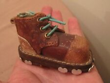 antique handmade sewn quality leather metal mini miniature shoe work boot old