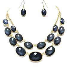 Black Gray Gold Necklace Earrings Layered Jewelry Set Free Shipping