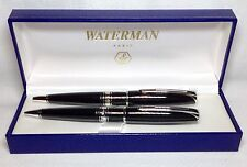 Waterman Charleston Black C/T Ball Pen and Pencil Set New In Box Product