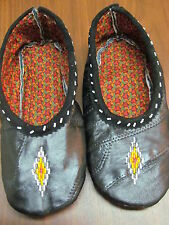NATIVE AMERICAN BEADED BLACK VINYL MOCCASINS 9&1/2 INCHES WHITE DIAMOND BEADS