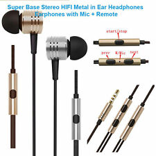 Super Base Stereo HIFI Metal in Ear Headphones Earphones with Mic + Remote