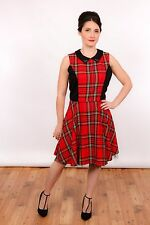 black & red tartan plaid skater dress rockabilly swing dress studded collar