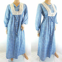 Vintage 1970s Maxi Dress Peasant Hippy Boho Prairie Blue White Floral Ethnic 10