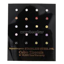 10 Pairs Fashion Women Stainless Steel CZ Rhinestone Stud Ear Earrings Jewelry