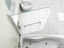 SIMPLE LUXURY 6mm CLEAR GLASS OVER BATH SHOWER SCREEN WITH TOWEL HANDLE