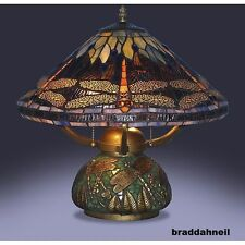 Tiffany Style Dragonfly Lamp Stained Glass Elegant Table Desk Mosaic Round Base