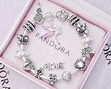 Authentic Pandora Silver Bangle Charm Bracelet with Pink Love European Charms