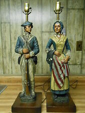 Vintage Set of Dunning Ind. Betsy Ross and Revolutionary War Soldier Lamps 1971