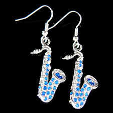 w Swarovski Crystal ~Royal Blue SAXOPHONE~ Music musical instrument Earrings New