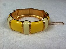 J.CREW JEWELRY Yellow + Ivory Enamel Stripe Gold Hinged Bangle Bracelet $88 NEW
