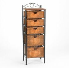 SEI BE8999 DRAWER UNIT, Country Style Iron Scrollwork Five WICKER DRAWERS