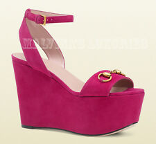 $750 GUCCI SHOES SUEDE LEATHER WEDGE SANDAL FUCHSIA sz 37 / 7