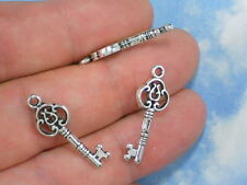 12 Small Scroll Key Charms Silver Jewelry Wedding Invitations Cards #P783-12