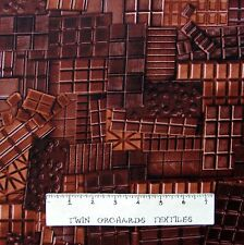 Food Fabric - Confection Affection Brown Chocolate Square - Benartex Kanvas YARD