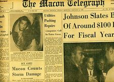 Newspaper Levis Jeans Hoover's FBI Red Plot LBJ Ice Storm Macon Georgia 1964
