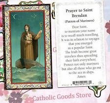 St Brendan with Prayer to St Brendan - gold trim - Paperstock Holy Card