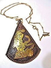 COBRE MEXICO MIXED METAL COPPER AND BRASS SWAMI SNAKE CHARMER PENDANT NECKLACE