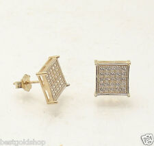 8mm Micro Pave Set Square Flat Screen Stud Earrings Real 10K Yellow Gold