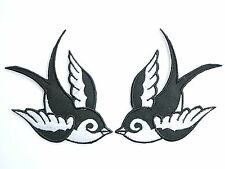 Pair 2Tone Swallows Bird Rockabilly Tattoo Biker Embroidered Iron on Patch 3.9""
