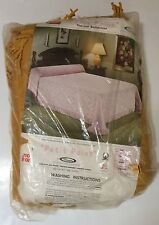 "Vintage Minette Petit Point Thermal Bedspread Blanket Twin Sz 78"" x 106"" Yellow"