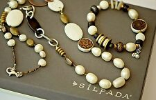 Silpada SET White Pearl Copper Brass Shell Necklace N1996 & Bracelet B1989 $205