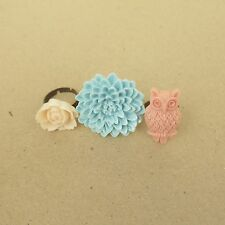 Set of 3 Flower and Owl Ring - 10