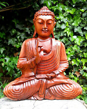 Large WOODEN BUDDHA Medium Carving Sculpture 32 cm Home Décor 1.4 kg
