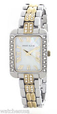 Anne Klein Women's Rectangular White Mother of Pearl Two Tone Watch 10/9487