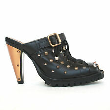 MIU MIU metal stud toe plate spike studded high heel mules clog boot shoes 38.5