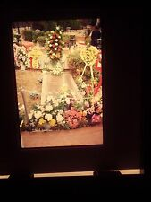1978 slide Elvis Presley Graceland Memphis Tennessee grave memorial flower reef