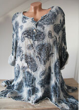 Lagenlook TUNIKA BLUSE VINTAGE PAISLEY mit WASCHUNG A-Form EG ca 44 46 48  ITALY