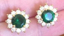 24K Yellow Gold Emerald and Diamond Stud Earrings    298