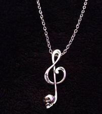 "Music Note Skull Necklace Treble Clef Charm Music Note Pendant 24"" Chain Love UK"