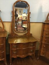 1900'S Antique Quartersawn Oak Princess Dresser W/ Beveled Harp Mirror