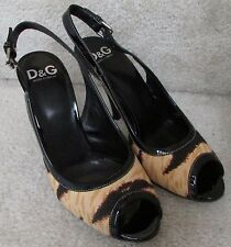 Dolce & Gabbana Animal Print Ladies Ankle Strap Open Toe Shoes 38Euro 8US Italy