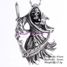 Holy Saint Death Santa Muerte Mens Pendant Necklace Skull Stainless Steel Jewel