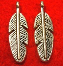 50Pcs. WHOLESALE Tibetan Silver 3D FEATHER Charms Pendants Earring Drops Q0109*