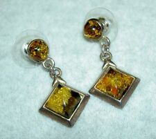 Vintage Sterling Silver 925 Green Baltic Amber Cabochon Dangle Post Earrings