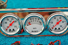 sunpro triple guage oil pressure temp voltage white face mopar ford chevrolet GM