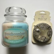 Yankee Candle BEACHCOMBER 13 oz SWIRL & BEACHCOMBER JAR CANDLE ILLUMA-LID HTF